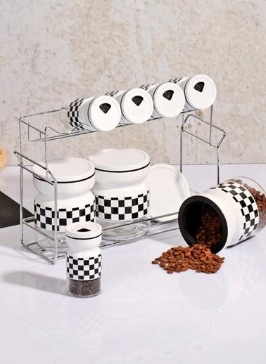 Ekoseli Standlı Lüx 8'li Metal Baharat Seti-Kitchen World